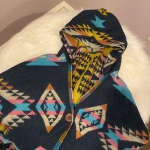 Aztec Print Hooded Poncho